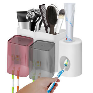 Wall Mounted Toothpaste Dispenser Toothbrush Holder Cups Bathroo