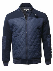 FashionOutfit Men#x27;s Casual Long Sleeves Zip Up Quilted High Neck Bomber Jacket