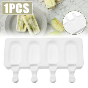 4 Cell Silicone Frozen Ice Cream Mold Juice Popsicle Maker Ice Lolly Pop Mould*#