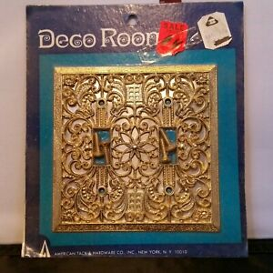 Vintage Deco Room Filagree Gold Double Light Wall Plate Switch Cover Tack Co