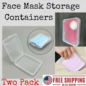 Face Mask Storage Container 2 Pack Set; PP Protection Case Box Cover