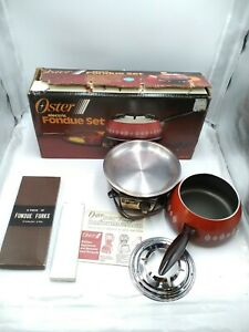 Vintage Oster Electric Fondue Set Model 681-47 Flame w/ Box (10 Forks Included)
