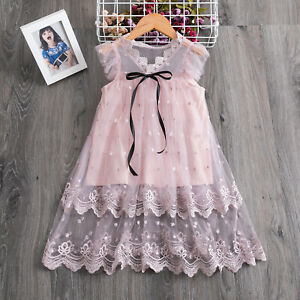 Flower Girl Kids Lace Pink Princess Tutu Dress Tulle Party Baby Summer Clothes $12.99