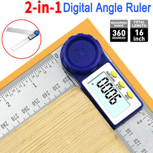 2 in 1 Angle Finder Measurement Tool 8quot; Digital Protractor Goniometer w Battery $13.59