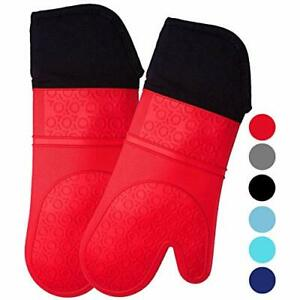 HOMWE Extra Long Professional Silicone Oven Mitt, Oven Mitts with Quilted Liner