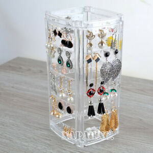 Clear Acrylic Jewelry Organizer Earrings Necklace Hanging Stand Holder Display