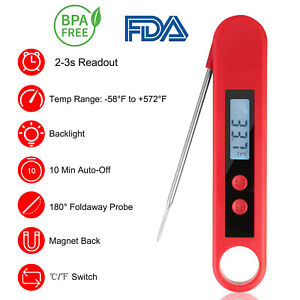 Foldable Instant Read Meat Thermometer Digital LCD Cooking BBQ Food Thermometer
