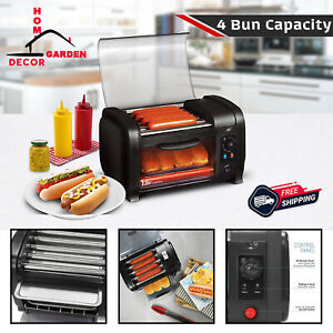 Hot Dog Toaster 4-Bun Sandwich Maker Stainless Steel Cooking Oven Meat Griller