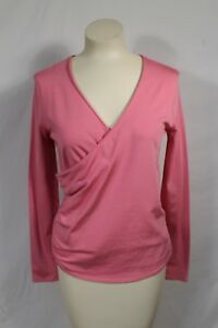 Gap Solid Pink Cross Front Long Sleeve Blouse Top Sz L Cotton Blend Stretch