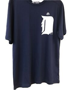 BASEBALL SHIRT DETROIT TIGERS MAJESTIC DRY FIT NAVY ADULT SIZES S M amp; 2XL $9.90