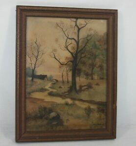Vintage Original Watercolor Landscape Painting Country Scene Signed Erma Clawson $29.99