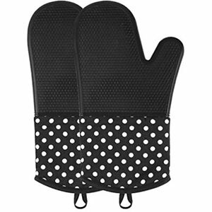 OVAWA Silicone Oven Mitts, Extra Long Kitchen Gloves, Professional Heat Baking 1