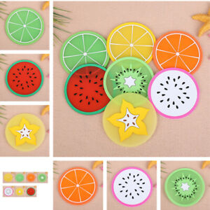 Rubber Silicone Coaster Place Mat Fruit Pattern Anti Skid Insulation Pad 7pcs