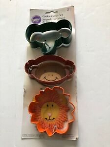 Wilton 3 Piece Pc Colored Metal Cookie Cutter Set of 3 New Elephant Monkey