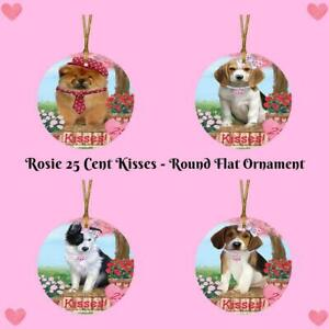 Rosie 25 Cent Kisses Dog Cat Round Flat Christmas hanging Ornament
