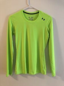 Under Armour Women's Long Sleeve Fitted Running Athletic Shirt Neon Sz XS $14.99