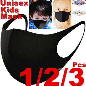 Kids Boys Girls Child Black Unisex Face Masks Cloth Mask Cover Reusable Washable