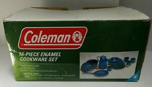 COLEMAN Blue Speckled Enamel COOKWARE Camping Dishes Set 16-Piece