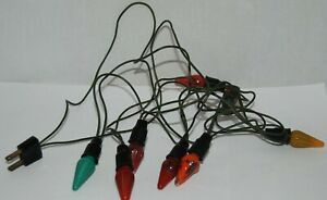 Vintage Working Christmas String of 7 Color Light Bulbs Set on Bakelite Cord