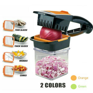 Food Chopper Dicer 3 Stainless Steel Blades Container Vegetable Onion Cutter NEW $15.99