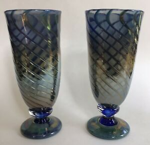 Texas Glass Artists Jim amp; Mary Bowman Hand Blown Iridescent Swirl Glasses Signed