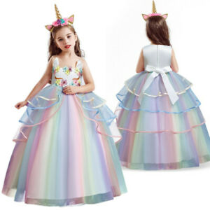 Lace Flower Girl Dress Party Unicorn Birthday Party Long Gown