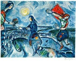 Beautiful Marc Chagall Lovers Over Paris Signed amp; Hand Numbered Lithograph w COA $295.00