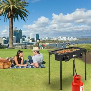 BBQ Stove Stand Double Burner Gas Propane Cooker Camping Picnic Barbecue Grill