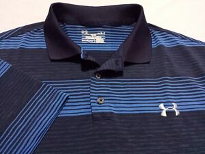 Under Armour Mens Large Short Sleeve Blue Striped Athletic Polo Golf Shirt $17.50