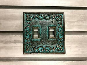 Metal Double Light Switch Plate Cover, Old World, Tuscan, Medieval Fleur de Lis