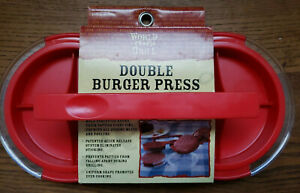 Double Burger Press World Grill by World Market in RED Quick Release NEW
