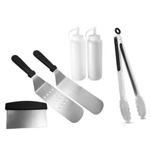 Grill Griddle Accessories BBQ Tool Kit 6 Piece Grilling Utensils Set for Fl E9O4