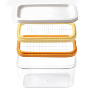 2X 2 Layer Kitchen Portable Home Butter Box Cutting Food with Lid Rectangl I3D4
