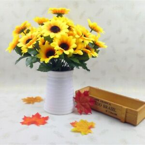 7 Heads Sunflower Artificial Flowers Silk Fake Wedding Home Desk Party Floral US