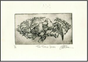 TWO TURTLE DOVES Original ETCHING Limited-Edition Bird Signed Numbered Art Print $21.00