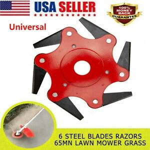 Universal 6 Steel Blades Razors Grass Weed Brush Cleaner Trimmer Head Cutter US