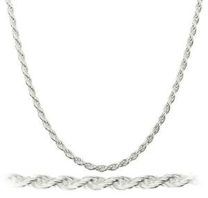2MM Solid 925 Sterling Silver Italian DIAMOND CUT ROPE CHAIN Necklace Italy $16.99