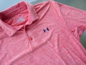 Under Armour Loose Fit Heat Gear Red White S S Golf Polo Shirt Mens Sz L Large $11.50