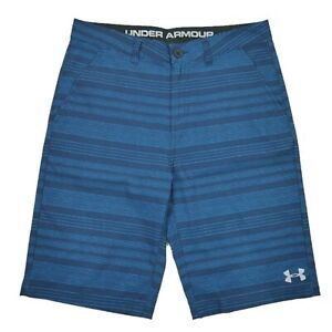 Under Armour Size 18 Dry Fit Flat Front Boys Golf Shorts Blue Stripe $18.89