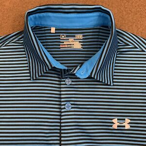 Mens UNDER ARMOUR Blue Black Stripe ColdBlack Performance Golf Polo Shirt Large $21.99