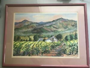 NAPA VALLEY RARE LITHOGRAPH OF ORIGINAL WATER COLOR PENCIL SIGNED BY MARSHALL $149.90
