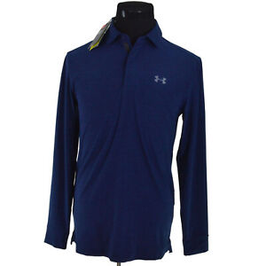 NEW Under Armour Polo Shirt Mens S Navy Blue Playoff Long Sleeve 1285067 408 $70 $34.99