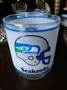 NFL Seattle Seahawk Frosted Glass Tumbler Mobil Oil Football Vintage $16.95