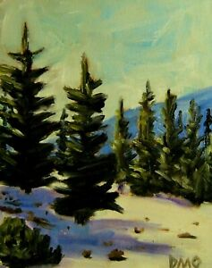original painting oil snowy forest impressionism Abstract Art D.Oberling