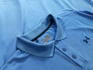 Under Armour Heatgear Loose Mens Golf Perfromance Polyester Polo Shirt Blue 2XL $19.99
