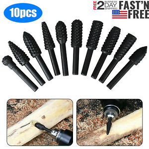 10 Pcs Drill Bits Tool For Dremel Set Steel Rotary Burrs High Speed Wood Carving