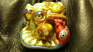 4 EYED CRUST MONSTER HEADY PENDENT HAND BLOWN GLASS GLASS WATER PIPES 😁