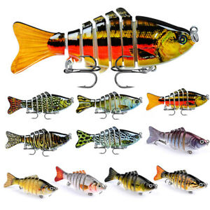 10PCS Fishing Lures Crankbaits Bass Minnow Crank Multi Jointed Baits Swimbait