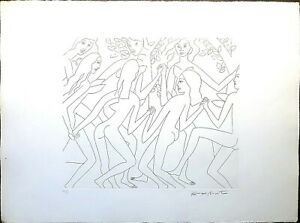 Dancing Nude Series by Knox Martin Vintage Lithograph Embossed Etching Print  $145.00