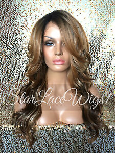 Lace Front Wig Brown Wavy Ombre Auburn Blonde Mixed Highlights Layers Heat Safe $53.05
